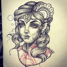 Mermaid Neo traditional tattoo design