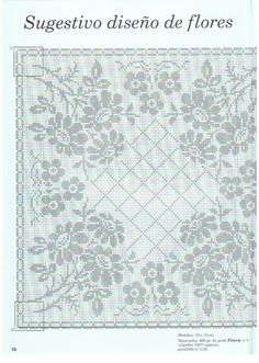Crochet: Tablecloth with flowers - fillet crochet Filet Crochet, Crochet Doily Diagram, Crochet Doily Patterns, Crochet Doilies, Cross Stitch Borders, Cross Stitch Designs, Cross Stitch Patterns, Crochet Tablecloth, Yarn Projects