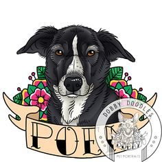 www.dobbydoodles.com - Dobby Doodles custom pet portraits inspired by old school tattoos. Just $25! #dog #dogtattoo #oldschooltattoo #petportrait www.dobbydoodles.com