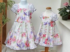 Ruffled Girls Dress Size 2T 3T 4T 5 6 7 8 10 12 14 Birds Floral Summer Girls Clothing Big Little Girls Dress Pink & Purple Twirl Dress Kids