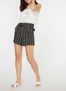 Womens Monochrome Striped O-Ring Shorts- Black
