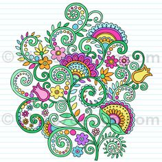 stock vector : Hand-Drawn Flowers and Vines Psychedelic Groovy Notebook Doodles Design Element on Lined Sketchbook Paper Background- Vector Illustration Doodles Zentangles, Tangle Doodle, Tangle Art, Zentangle Drawings, Zen Doodle, Zentangle Patterns, Doodle Drawings, Doodle Art, Grafic Design