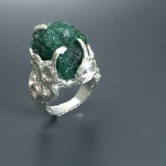 Rough stone ring Nature jewelry Emerald statement ring by youzan on Etsy