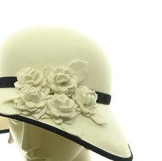 Vintage Style Cloche Hat for Women - Winter White Fur Felt Hat -