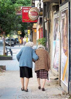 Old Lady Best Friends | Two old women, old friends, walking the side walks of Buenos Aires ...