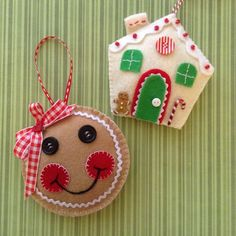 Christmas Gingerbread Ornaments ( set of 2 ) Handmade and design in felt material , buttons , ribbon , trim ....the measurement of these cute