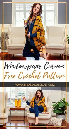 Windowpane Cocoon Wrap Crochet - Briana K Designs What I love about cocoon wraps is the easy construction. If sweaters intimidate you then start with Cardigan Pattern, Crochet Cardigan, Crochet Scarves, Crochet Clothes, Knit Crochet, Crochet Sweaters, Crochet Shrugs, Mode Crochet, Crochet Gratis