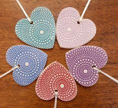 Set of 5 hanging ceramic hearts £20.00