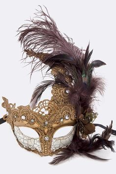 Crackled Paint Masquerade New Years Mask Feather Mask Venetian Mask New Year's Mask Handmade Mask Peacock Feather Lace Mask (34.00 USD) by Scarlettaa