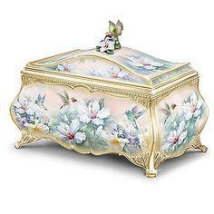 Lena Liu Hummingbird Art Heirloom Porcelain Music Box with 22K Gold Sentiment