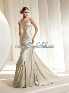 Strapless Mermaid Champagne Satin Dress with Ruche Details for Bridal, Quality Unique Wedding Dresses La Sposa Wedding Dresses, Plus Wedding Dresses, Pronovias Wedding Dress, Wedding Bridesmaid Dresses, Cheap Wedding Dress, Wedding Dress Styles, Bridal Dresses, Wedding Dressses, Bride Gowns