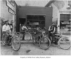 Crescent Bicycle Shop 1912 showing a Excelsior and another antique motorcycle (Photo MOHAI)