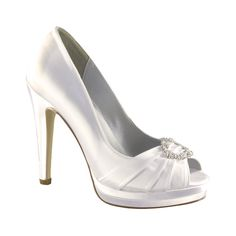 Gianna by Dyeables White Satin Bridal Shoes Dyeable Wedding Shoes Dyeable Wedding Shoes, Dyeable Shoes, Bridal Shoes, Satin Pumps, Peep Toe Pumps, Satin Shoes, Women's Shoes, Me Too Shoes, Shoes Style