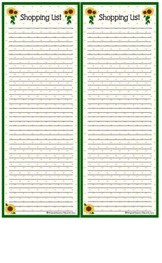 Shopping List - Sunflowers