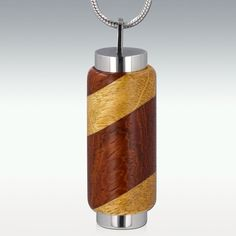Brown and Tan Stripe Wood Cylinder Memorial Jewelry