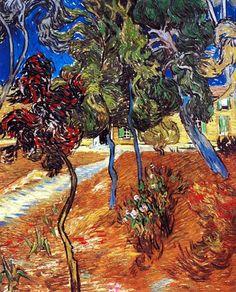 Vincent Van Gogh - Post Impressionism - Saint REMY - Arbres dans le jardin de l'asile - 1889