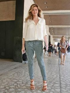 White shirt and khaki pants