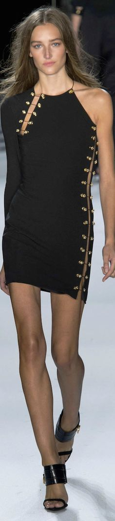 Versus Versace RTW SS 2015 | black | one shoulder | safety pin minidress
