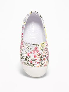 aa7f27406ce798 Perforated Floral Slip-Ons For Toddler Girls