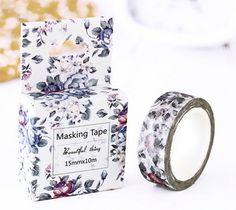 Elegant Grey Purple Flowers Japanese Washi Tape, Masking Tape, Scrapbooking Stickers, Planner Stickers, Decorative Stickers - WT138