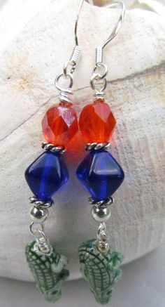 Florida Gators Blue and Orange Beaded Earrings by Harleypaws, $17.00 Unique gift most definitely. The fan of the UF Gators would love this!