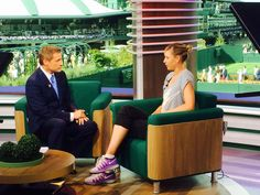 Bill Macatee and Maria #Sharapova chat on the set of Wimbledon Primetime. #Wimbledon