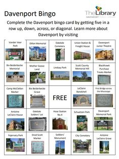 Explore Davenport, Iowa using this Bingo card or if you want create one for your hometown to share with your friends and family. #Iowa175 Bix Beiderbecke, Davenport Iowa, Five In A Row, Union Station, Mother Goose, Bingo Cards, Are You The One, Collections, Explore