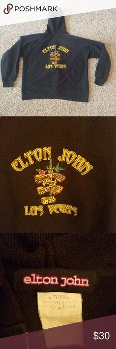 8d8fb32fe Elton John Las Vegas Black Hoodie Elton John Las Vegas Hoodie Size Large  Black Long Sleeve