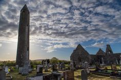 Kilmacduagh tower evening light  The Burren  County Clare and County Galway