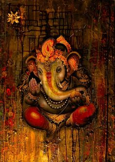 """By Ganesh das """"I worship the primeval Lord, Govinda. Ganesha always holds His lotus feet upon the pair of tumuli protruding from his elephant head in order to obtain power for his function of destr…"""