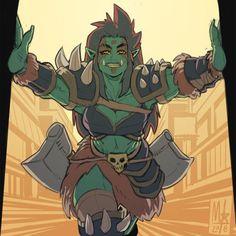 An orc gal makes an entranc Female Character Design, Character Creation, Character Design Inspiration, Character Concept, Character Art, Character Ideas, Fantasy Rpg, Fantasy Girl, Dnd Characters