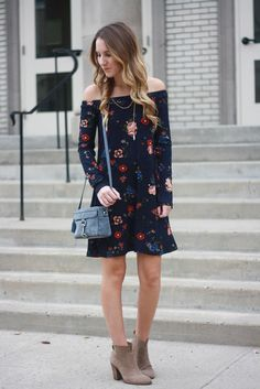 Floral Off the Shoulder Dress | Twenties Girl Style