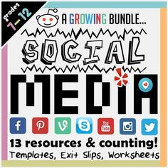 Social Media : Facebook : Twitter : Pinterest : Skype : YouTube : Vine : Instagram : Periscope : Imgur : Reddit : Tumblr : YelpConnecting with students is important; what better way than bringing in social media to your lessons? Each product is versatile to the subject you teach, and the content you want to get across.