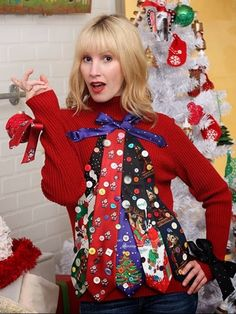 Create a DIY ugly Christmas sweater that is affordable and quick to make. Choose from a Rudolph, snowman, Grinch, Christmas lights or tinsel design.