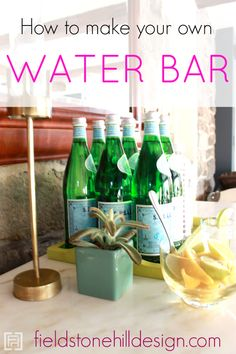 How to make your own Water Bar! Perfect if you already have a #bar and need alternatives for display. Or if you need an #alcoholfree option! LOVE THIS! via interior designer @fieldstonehill #waterbar #sanpellegrino #beverage #bar #barcart #bardisplay