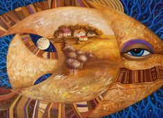 """large size original painting """"Fish-moon"""" acryl on canvas wall decore by weavinghouse on Etsy"""
