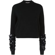 McQ Alexander McQueen Sequined Sleeve Wool Jumper ($370) ❤ liked on Polyvore featuring tops, sweaters, sequin sleeve sweater, sequin jumper, sequin sleeve top, wool tops and ribbed sweater