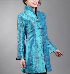 Charming Chinese Women's Silk Jacket Coat Blue Sz M L XL XXL XXXXL | eBay $35.99