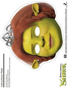 Which Shrek character is your child's favorite? If the favorite is Fiona, then this is the perfect craft to do! First, print the mask on cardstock. Printable Masks, Printable Crafts, Free Printables, Princesa Fiona, Shrek Character, Gugu, Hat Crafts, Craft Free, Halloween Disfraces