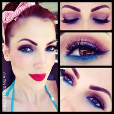 pin up neon punk eye liner.... (I can't handle this much makeup, BUT, a FUN color is always a great surprise even for a Hippie Mama)