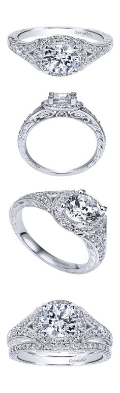 A timeless love. A 14k White Gold Victorian Halo Engagement Ring.