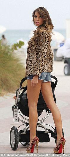 Hot mama Paraguayan model Claudia Galanti in short shorts and studded Louboutin heels #legs #heels