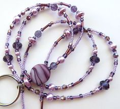 LUXURIOUS LAVENDER- Beaded ID Lanyard- Crystals, Pearls, and Lampwork Beads with Tibetan Silver Accents (Magnetic Clasp)