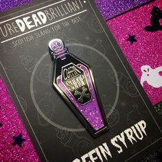 Coffin Syrup - Purple Hard Enamel Glitter Pin by PureDeadBrilliantCo on Etsy