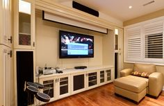 Ideas Projector Screen Living Room Entertainment Center For 2019 Home Cinema Room, Home Theater Rooms, Home Theater Design, Home Theater Seating, Attic Renovation, Basement Renovations, Home Remodeling, Basement Ideas, Basement Makeover