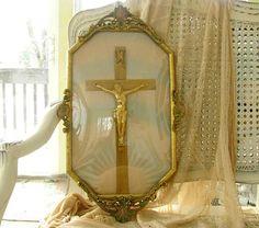 Vintage bubble glass framed crucifix.