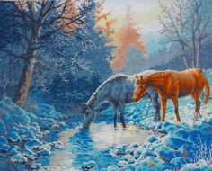 Cross Stitch Kit Frosty Morning Horses From Dimensions Gold Collection