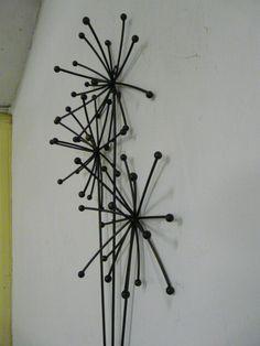 In Vase Contemporary Metal Wall Art Sculpture Dandelion In Vase