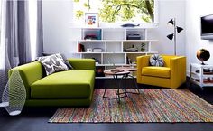 Recycled Cotton Rug: Salvaged from textile factories in India,100% recycled cotton fabric remnants are woven into a variegated spectrum of color and texture to create this vibrant focal point for any room: Green Your Decor with CB2 Recycled Home Furnishings