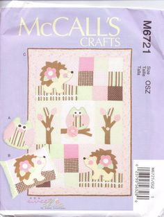 New Mccalls Quilt Pattern Baby Quilt Owls Hedgehog Owl Pillow Matching Hedgehog…